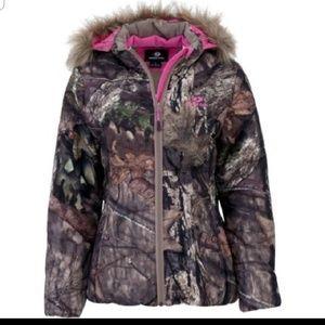 Mossy Oak Faux Fur Hood Camo Coat M